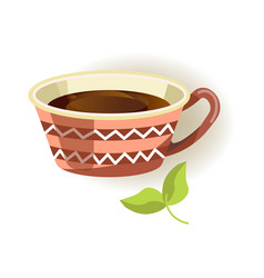 Ceramic cup with pattern and black tea inside vector