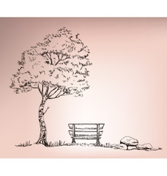 chire beside the tree vector image