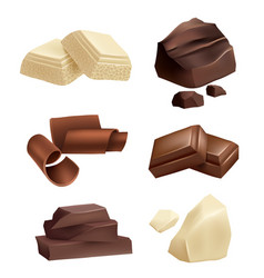 chocolate icon set realistic pictures of vector image