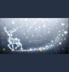 Christmas card with magic deer vector