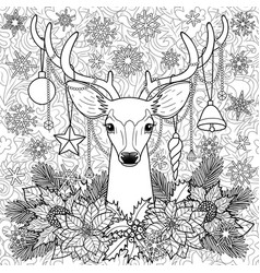 Christmas deer on doodle seamless background vector