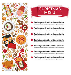 christmas menu with dishes and ingredients vector image