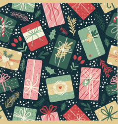 Christmas seamless pattern on dark background vector