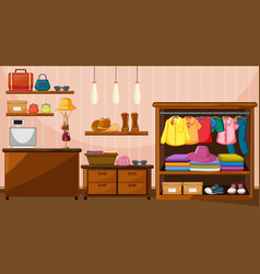Clothes hanging in wardrobe with many accessories vector