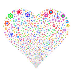 cogwheel fireworks heart vector image