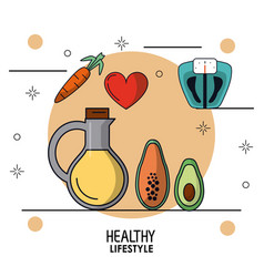 colorful poster of healthy lifestyle with vegetal vector image