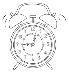 coloring black and white alarm clock vector image