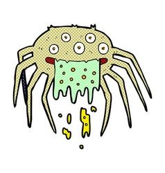 Comic cartoon gross halloween spider vector