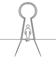 Continuous line man in keyhole business concept vector