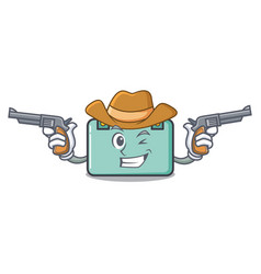 Cowboy suitcase character cartoon style vector