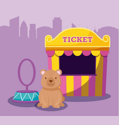 cute bear with ticket sale tent vector image