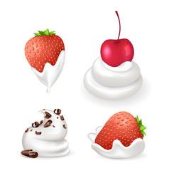 Dessert cream and berries vector