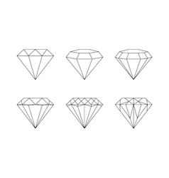 Diamonds gemstones faceting patterns on a vector image