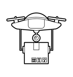 Drone flying technology with box carton vector