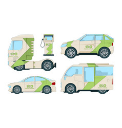 eco electric automobiles cartoon ecological vector image