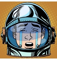 Emoticon tears roar Emoji face man astronaut retro vector