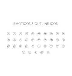 emoticons line icon set vector image