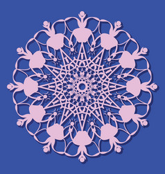 Ethnic ornament pattern floral round art symbol vector