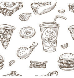 Fast food sketch seamless pattern vector