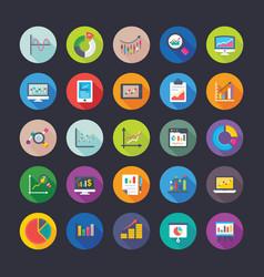flat circular icons set reports and charts vector image