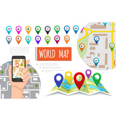 flat global positioning system composition vector image