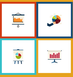 flat icon chart set of diagram graph easel and vector image