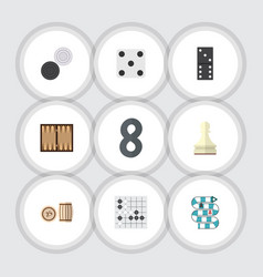 flat icon games set of chequer pawn multiplayer vector image