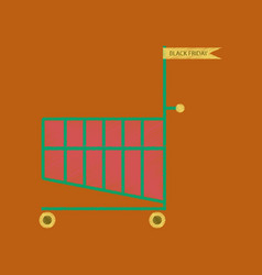 Flat shading style icon shopping cart black friday vector