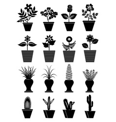 Flower pot icons set vector image