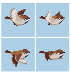 Flying tree sparrow animation sprite sheet vector
