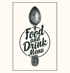 food and drink menu with a hand-drawn spoon vector image
