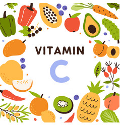 Food sources of vitamin c frame of natural vector