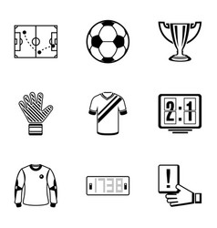 Football tool icons set simple style vector