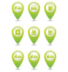 Gas station icons on green map pointers vector