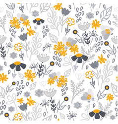 Gold and grey flowers seamless pattern vector