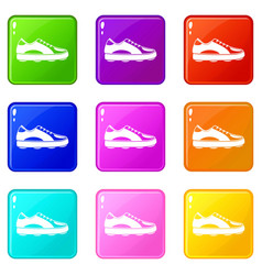 Golf shoe icons 9 set vector