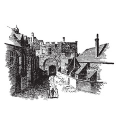 Green court gate cathedral vintage engraving vector