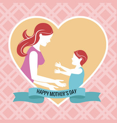 Happy mothers day - mom with baby heart vector