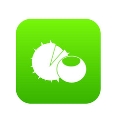 hazelnuts icon digital green vector image