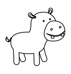 hippopotamus cartoon in black sections silhouette vector image