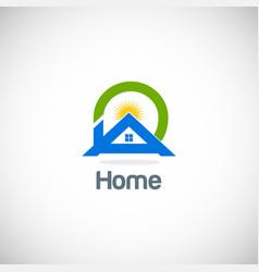 Home solar summer logo vector