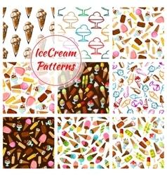 Ice cream desserts seamless patterns set vector image