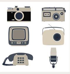 Icon retro flat communication graphic global vector