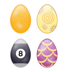 icons set with cartoon easter eggs vector image