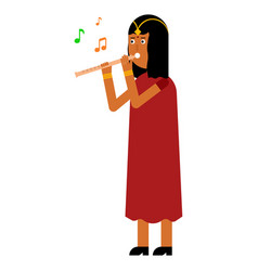 Indian woman playing a musical instrument vector
