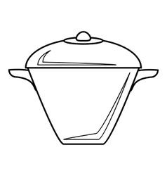 Iron saucepan icon outline style vector image