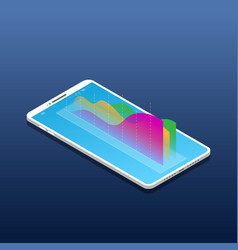 Isometric mobile phone and chart vector