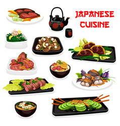 japanese cuisine dishes meat and fish vector image