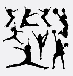 Jumping cheerleader action silhouette vector