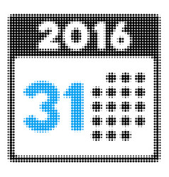 last 2016 month day halftone icon vector image